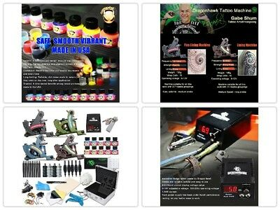 Complete Kit Tattoo Machine Professional Lining Shading Body 4 Gun 20 Ink Colors