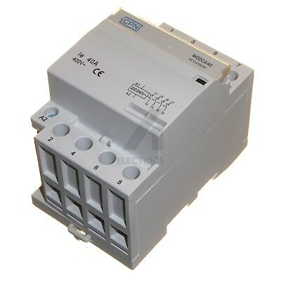 40 Amp 4 Pole AC Contactor 220 / 240V Coil Normally Open 16kW Lighting Heating