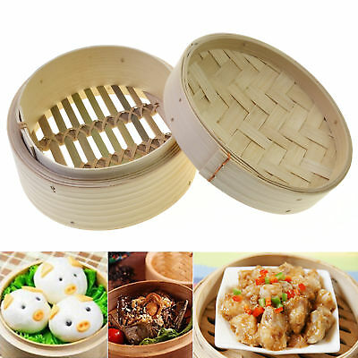 6'' Dim Sum Bamboo Steamer Basket Homemade Tool Food Pasta Cooker for Chinese