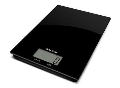 Salter Black Glass Electronic Scale - Slim Design - New