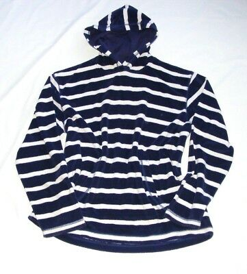 Mini Boden Navy Blue & White Striped Towelling Beach Hoodie Holiday Summer 13-14