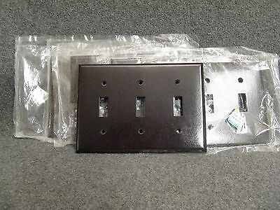 Lot of 5 Vintage Dark Brown Bakelite 3 Triple Light Switch Plate Cover