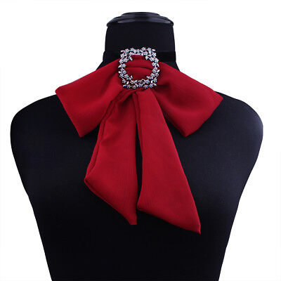 Elegant Lady Adjustable Crystal Ribbon Bow Tie Necktie Wedding Bowties for Women