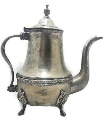 antique (1940s) traditional moroccan handmade silver plated teapot kettle 9,5 in