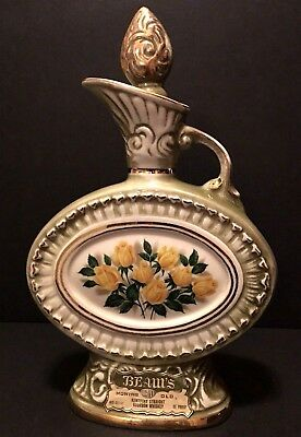 Vintage 1969 Jim Beam Sovereign Yellow Rose Regal China Decanter