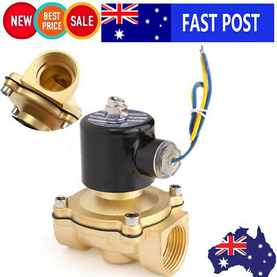 HOT DC 12V G1'' Electric Solenoid Valve Brass Water Air Fuels Gas Close/Open AU
