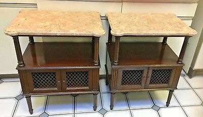 Antique pr. carved column mahogany pink rose marble top side night stands tables