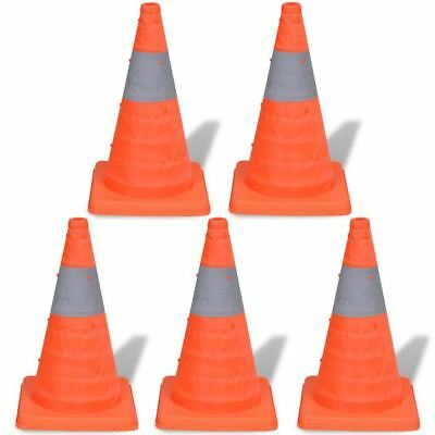 """5 x 18"""" COLLAPSIBLE PULL OUT POP UP SAFETY CONES EMERGENCY ACCIDENT TRAFFIC ROAD"""