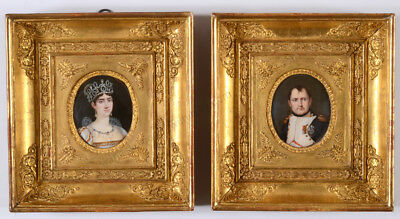 "Louis-Francois Aubry-Attrib.""Napoleon and Josephine"" two fine miniatures"