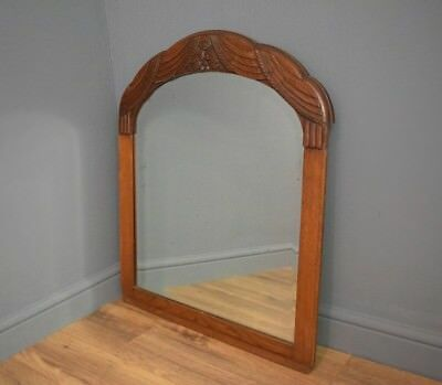 Large French Carved Oak Antique Mirror