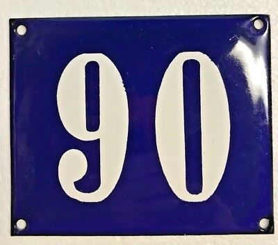 Antique French Enamel House Number Sign, Door gate plaque street plate 90