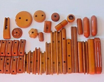 Lot of 37 Vintage Art Deco Butterscotch Bakelite Drawer Handles Pulls 295 Grams