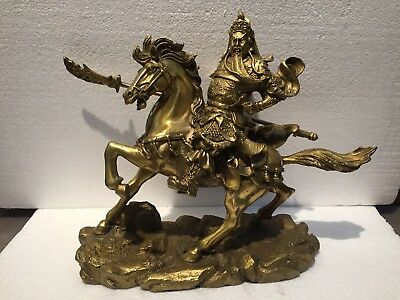 Chinese Brass Carved Guan Gong Riding a Horse Statue
