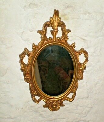 Vintage Beautiful Small Size Rococo Style Frame Gilt Metal Wall Hanging Mirror