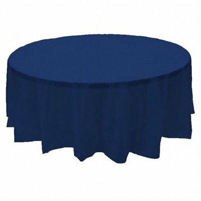 "Winco 90"" Round Tablecloth Navy Blue"