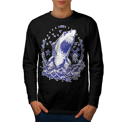 Killer Shark Art Vintage Men Long Sleeve T-shirt NEW | Wellcoda