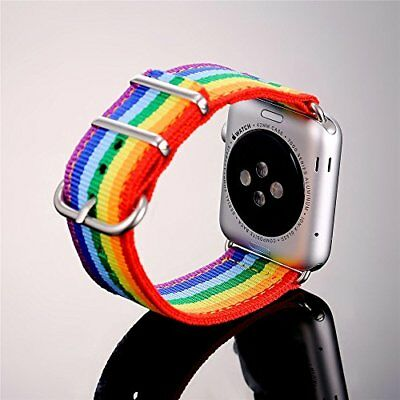 Rainbow LGBT Denim Wristband Band Bracelet Strap For Apple Watch iWatch 42 mm
