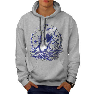 Killer Shark Art Vintage Men Hoodie NEW | Wellcoda