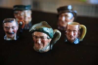 Vintage MINI TOBY MUGS BY ROYAL DOULTON LOT OF 5 ASSORTED SIZES & MINT!