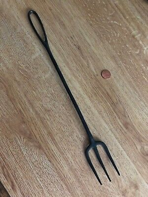 "ANTIQUE 14"" WROUGHT IRON Black Serving FORK Looped top 3 Prong DECORATIVE USEFUL"