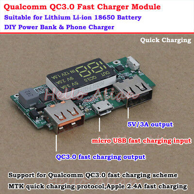 QC3.0 USB Lithium Li-ion 18650 Battery Quick Charging Module Power Bank Charger