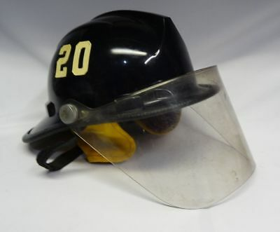 Vintage Bullard Black Firefighter Fire Dept Helmet Face Shield Shroud FH2100 ✔
