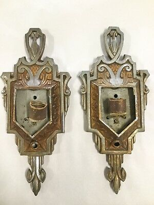 Pair Of Vintage Art Deco Slip Shade Wall Sconce Light Fixtures Cast Aluminum