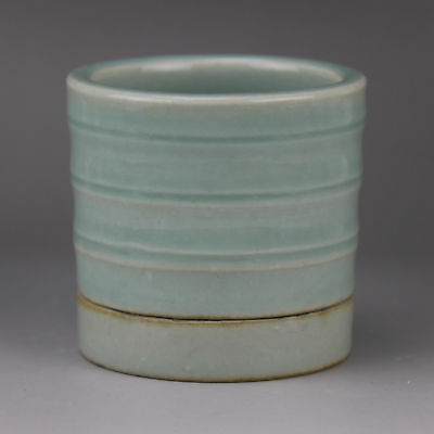 China old hand-carved porcelain bean green glaze bamboo joint gyrata flowerpot H