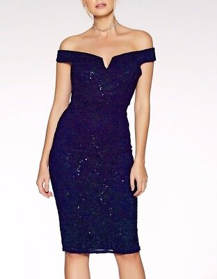 79f31349 EX QUIZ Navy Lace Sequin Bardot Bodycon Evening Party Dress 8 10 12 14 16 18