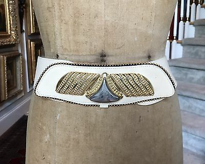 Vintage GAIL LABELLE French Cream Leather Belt - Wide GOLD SILVER BUCKLE - LARGE