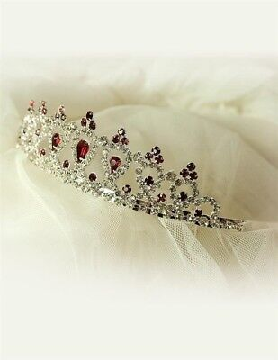 Tiara Headband with Red Rhinestones Free Ship NIB