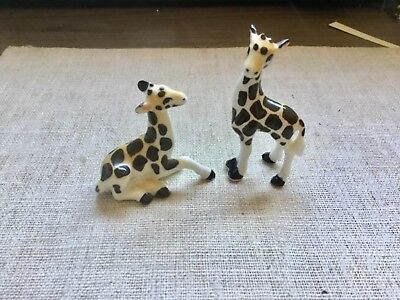 LOT (2) VINTAGE CERAMIC Giraffes FigurineS COLLECTION LOT