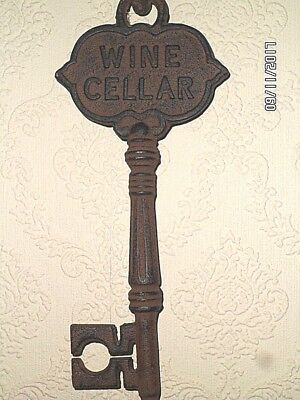 LARGE -  CAST IRON WINE SKELTON KEY AND HOOK; DECORATIVE PIECE; 22 inches