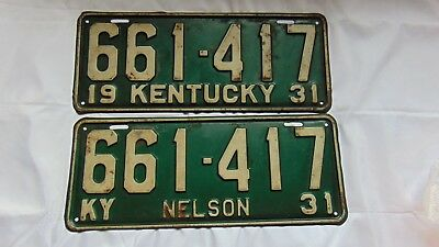 Vintage 1931 KY Kentucky License Plate Set Matching Numbers.