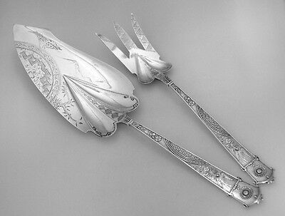 Japanese Fish Serving Set Gorham 1871 Sterling Silver