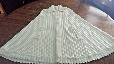 Vintage 1970's Cuddle Knit Off-White Bell Cape Wrap Sweater Shawl Crochet Lace