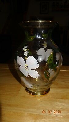 Lenox- Spring Glass Flower Vase White Flowers & Bumblebee Hand Painted - Signed