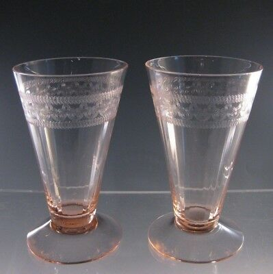 Pink Depression Glass Optic Tumblers Needle Etched - Maker unknown