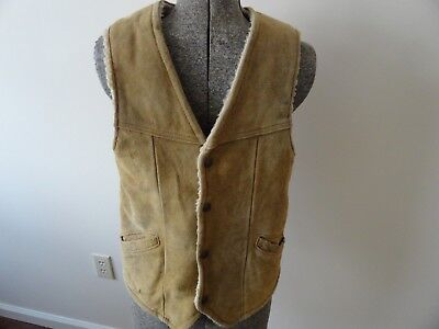 Vintage Suede Leather Tan Vest Faux Shearling Lined Western Yoke 38 Medium
