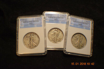 "Lot of (3) ""circulated""  1936-S Walking Liberty Half Dollars .#573,5680,570"