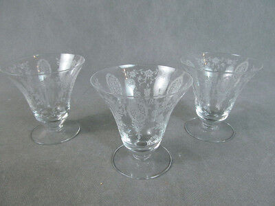 """1940s TIFFIN """"June Night"""" 3 OYSTER Fruit Cocktail Glasses"""
