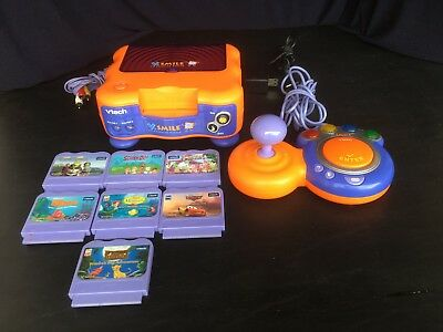 Vtech V Smile TV Learning System Bundle Console Controller AC Adapter & 7 Games