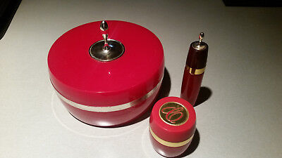 Vtg Avon Charisma set Powder (empty), roller perfume, cream sachet Red & Gold