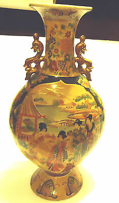 Vintage Asian Satsuma Style Vase-Geishas And Trimmed In Gold..decorative Handles