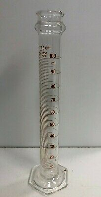 Pyrex 3050 Graduated Mixing Cylinder Red Graduations 100 mL Chemistry Lab