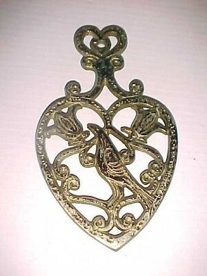 Distelfink Thistle Finch Heart Shaped Tulips Scrolls Cast Iron Trivet T-47 23