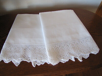 Vintage Pair Of Pillowcases All White & White Hearts Crocheted Trim Exquisite