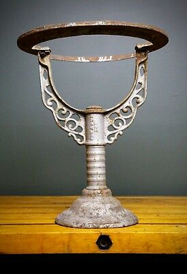 Vintage Cast Iron Industrial Age Plant Stand Flower Holder Base Chippy Paint Old