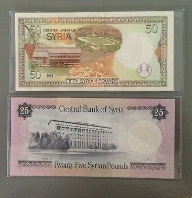Syria, 2 note set,A 25 pound and A 50 pound,Uncirculated, GREAT LOOKING NOTES!!