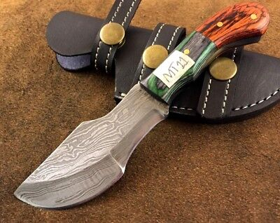 Handmade-Blacksmith Crafted Damascus Steel Mini Tracker Knife-Sheath-MT11